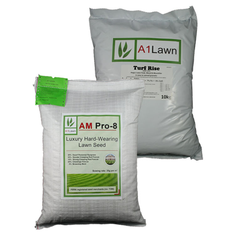 AM Pro-8 Luxury Hard Wearing Lawn Grass Seed with Weed, Feed & Moss Killer