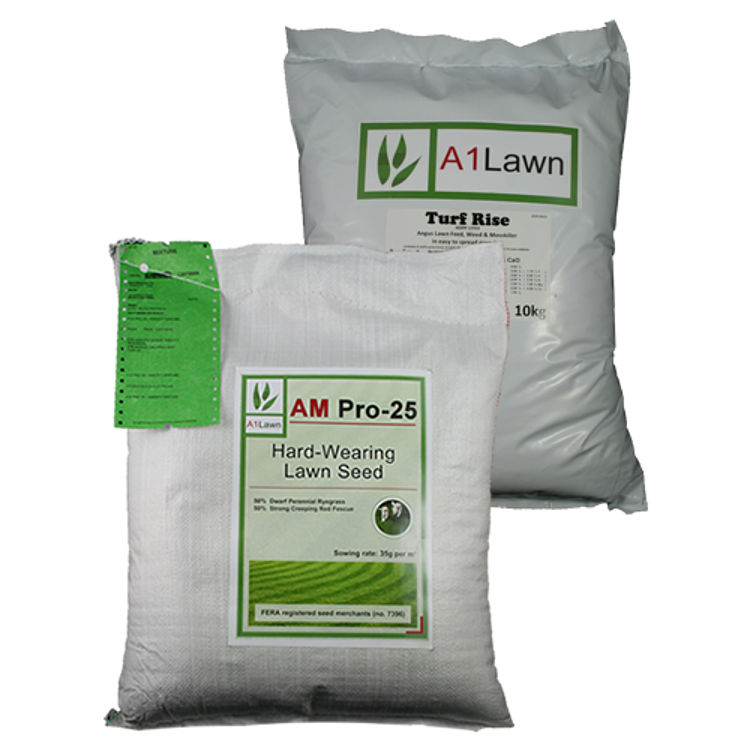 AM Pro-25 Tough Hard Wearing Lawn Grass Seed with Weed, Feed & Moss Killer